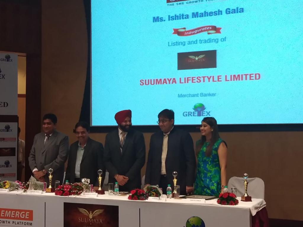 leading merchant banker , Gretex ,Suumaya Lifestyle Limited