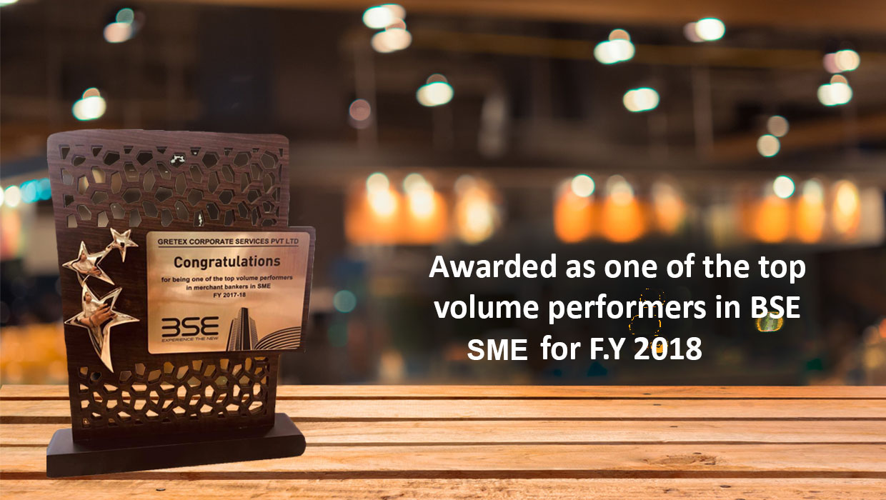 Award , BSE ,SME, F.Y 2018 ,Gretex corporate